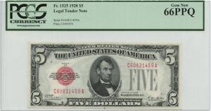 1928 $5 Legal Tender Note PCGS Gem New 66 PPQ