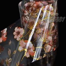 Nail Art DIY Decal Flower Nail Glue Transfer Foil Brown Gold Wildflower G17