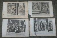 1690 GERARD JOLLAIN LOTTO 4 RARE INCISIONI CON SCENE BIBLICHE DENTRO LE CITTA'