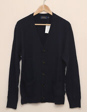 NEW Polo Ralph Lauren 100% Wool Navy Suede Elbow Patch Cardigan Sweater XS