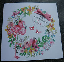 HANDMADE PERSONALISED BIRTHDAY CARD,FLAMINGO FLORAL WREATH