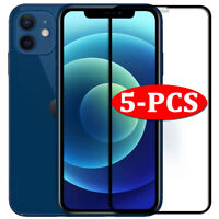 5Pcs FULL COVER Tempered Glass For iPhone 12 11 Pro X XR XS Max Screen Protector