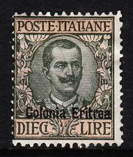ERITREA — SCOTT 46 — 1916 10L GRAY GREEN & RED — MH — SCV $425.00