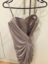 LIPSY london Silver Grey Mesh Diamond Bandaeu Mini Dress Uk 6 / 4 *Beautiful*