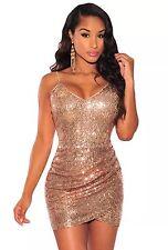 NEW ROSE GOLD SEQUIN SPARKLE WRAP MINI  BOUTIQUE DRESS SIZE 10