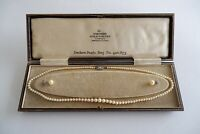 VINTAGE CULTURED PEARL NECKLACE & EARRINGS, 9CT GOLD CLASP - C1960'S, FITTED BOX