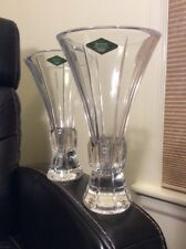 """Two 8"""" VASE - SHANNON CRYSTAL by GODINGER DESIGNS of IRELAND - NEW in BOX - 24%"""