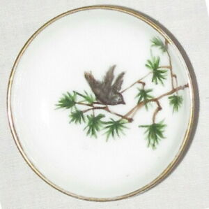 Butter Pat: 2.75 inches: H&Co Limoges: Green Leaves, Bird: Gold Trim