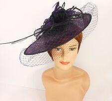 New Church Derby Cocktail Sinamay Fascinator Hat w veil headband 3624 Purple