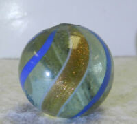 #12755m Large .89 Inches German Handmade Clear Glass Banded Lutz Shooter Marble