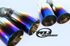 "Twin Exhaust Tail Pipe Stainless Sports Pair Of 3"" Titanium Blue Trim Tip MIJ"