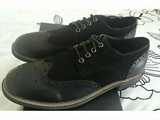French connection flynn black leather and suede shoes  eu44 uk 10 bnib brogue