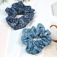 Women Floral Printed Denim Scrunchie Hair Rope Ties Ponytail Hair Accessories