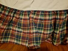 Ralph Lauren Madras Plaid 100% Cotton Madras twin Ruffled Bedskirt Blue Red