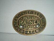 """GENUINE ORIGINAL """"RATNER"""" THIEF RESISTING SAFE PLAQUE PLATE"""