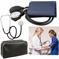 New Aneroid Sphygmomanometer Nylon Cuff Blood Pressure Medical Kit + Stethoscope