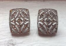 Titanic Silver Tone Rectangle Cluster Filigree Crystal Cocktail Earrings