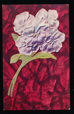 GREETINGS Purple Flower Red / pink Background to Wright City Montana postcard