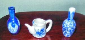 2 PORCELAIN VASES AND 1 PITCHER  HAND MADE AND HAND DECORATED
