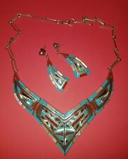 VINTAGE SOUTHWESTERN STERLING SILVER AND MULTIPLE STONES NECKLACE EARRINGS SET