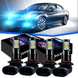 For Honda Accord 2006-2011 2012 LED Bulbs Headlight 9005 9006 High/Low Blue 4X