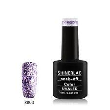 Shinerlac PURPLE RAIN GLITTER - Soak-off Nail Polish UV/LED Gel 10ml Free P&P