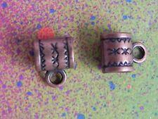 20 Bail Connector Charm Bronze European Spacer Beads Bails For Charm Bracelets