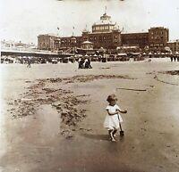 Bassi Scheveningen Spiaggia Foto Stereo PL52P2n1 Placca Da Lente Vintage