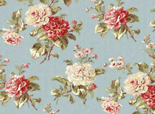 Mrs. Miniver  Floral Cotton Fabric Fabric Red Rooster Blue  BFab