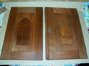 "ANTIQUE WALNUT CABINET DOORS COMPLETE WITH ORIGINAL BRASS HINGES LOCK 16"" x 10"""