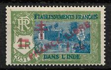 French India 1943,France Libre ,1ca on 1R,Scott # 198,VF MLH*OG (FC-6)