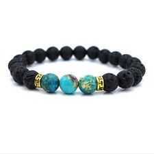 Black Lava Stone Natural Agate Beads Fitness Fashion Stretch Yoga Men's Bracelet