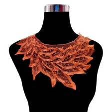 1x Embroidered Feather Lace Collar Neckline For Dress Clothes Patch DIY Material