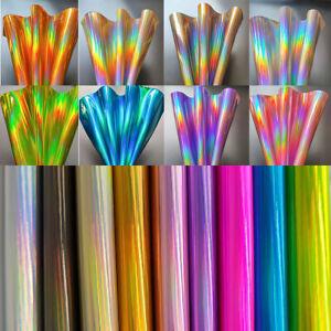 9pcs iridescent Rainbow Laser PU Leather Fabric Sheets Laser Fabric Hair Bow DIY