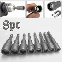 8pc 1/4 Hex Magnetic Nut Driver Socket Set Metric Impact Drill Bits 6 to 13mm