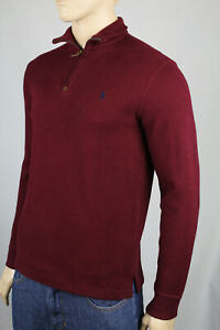 Polo Ralph Lauren Burgundy 1/2 Half Zip Sweater Navy Blue Pony NWT