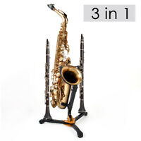 Folding Saxophone Tripod Stand Holder For Alto Tenor Sax Two Flute Clarinet peg