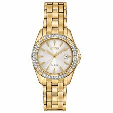 Citizen Eco-Drive Women's EW2352-59P Silhouette Crystal Accents Gold Tone Watch