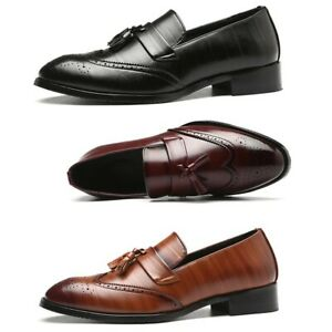 Mens Pointed toe Brogue Carved Tassel British Formal Party Shoes Slip on Loafers