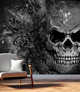 Vlies Tapete XXL Poster Fototapete Totenkopf Grafitti Muster bunt
