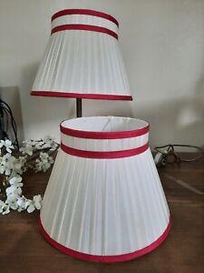 LAURA ASHLEY VINTAGE SILK PLEATED  WHITE  RED TRIM  MEDIUM  LAMP SHADES