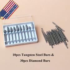 10pcs Dental Tungsten Steel Burs Tooth Drill Marathon 2.35mm & 30 Diamond Burs