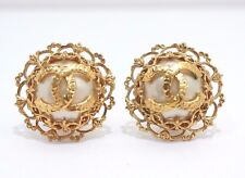 Authentic CHANEL Vintage CC Logos Imitation Pearl Earrings Clip-On