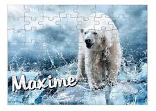 Puzzle Ours blanc personnalisé avec prénom 35,70 ou 96 pièces