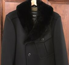 $3500 Todd Snyder NY Beaver Collar Black Wool Officer's Coat Size M NWOT