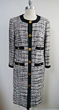 TORY BURCH gray white black fantasy tweed boucle button front coat size 8