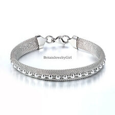 Ladies Womens Stainless Steel 9mm Mesh Bracelet with Beads Color Silver 7.67""