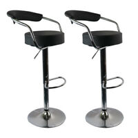 Set of 2 Bar Stool Adjustable Kitchen Chair Counter Swivel Pub Dining PU Leather