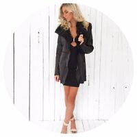 Kim Kardashian Kollection Ladies Women Black Faux Suede / Leather Jacket Coat