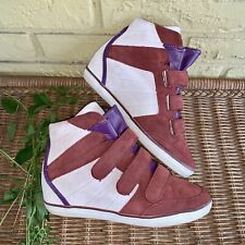 $250 Coach Women's 7 B Suede Color-block Dreama Sneaker Boot Wedge Heel Burgundy